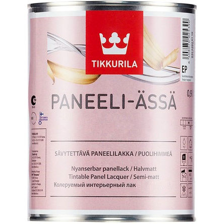 """Фото 9 - Лак Тиккурила """"Панели Ясся"""" (Paneeli assa) акрилатный для деревянных поверхностей, матовый (Коллеруемый) (2.7л) """"Tikkurila""""."""