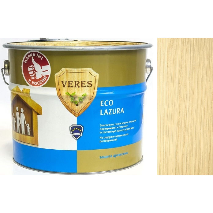 """Фото 1 - Пропитка Верес """"Эко Лазура"""" №1 Бесцветная, для древесины [Шелковисто-матовая]-[6 л] """"Veres""""."""