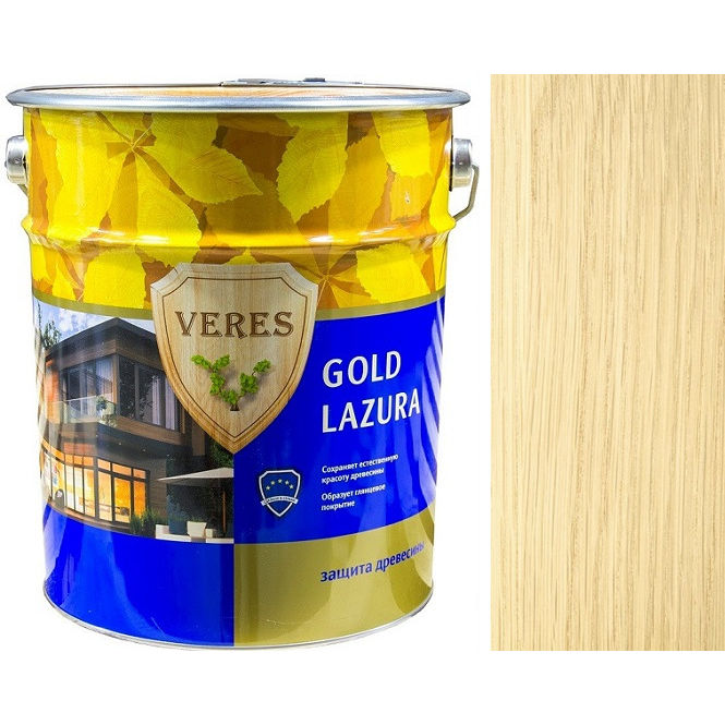 """Фото 6 - Пропитка Верес """"Голд Лазура"""" №1 Бесцветная, для древесины [Глянцевая]-[уп. 4 шт по 2,7 л] """"Veres""""."""