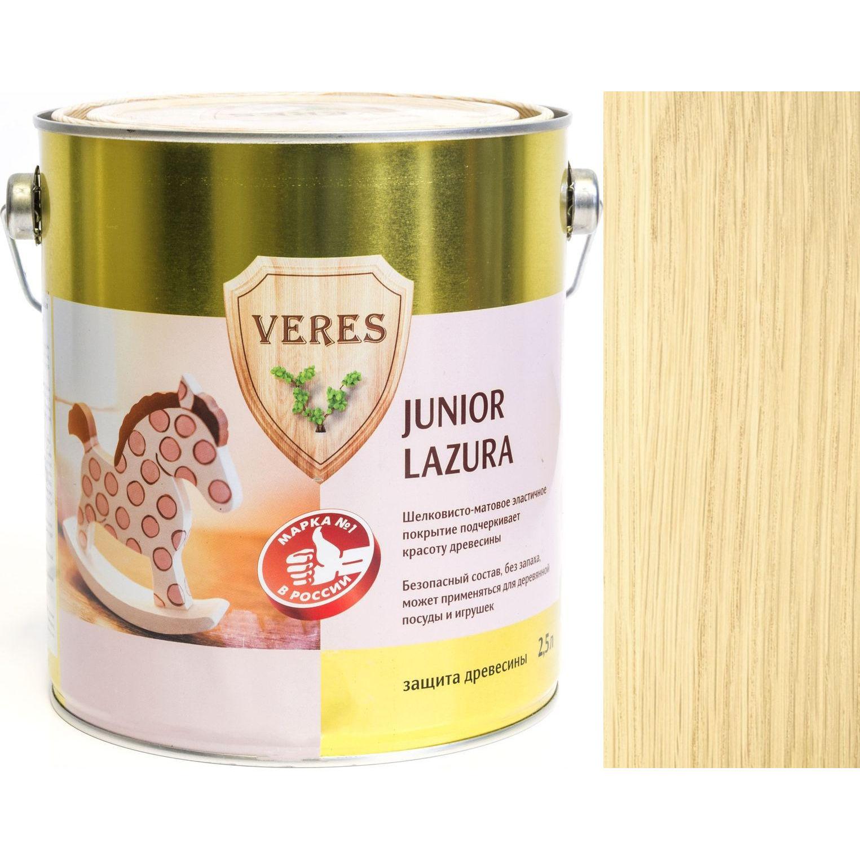 """Фото 2 - Пропитка Верес """"Джуниор Лазура"""" №1 Бесцветная, для древесины [Шелковисто-матовая]-[уп. 4 шт по 2,5 л] """"Veres""""."""