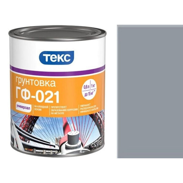 "Фото 1 - Грунт Текс ""ГФ-021 Серый"" антикоррозионный для металла (2,5 кг - уп. 6 шт) ""Teks""."