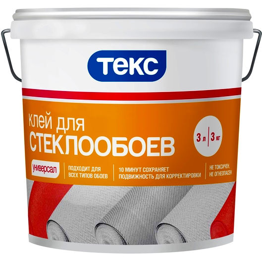 "Фото 6 - Клей Текс ""для Стеклообоев"" на основе ПВА (10 л) ""Teks""."