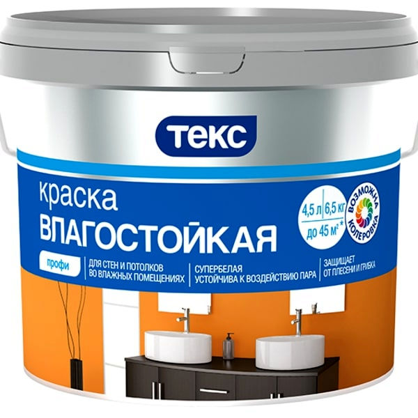 """Фото 1 - Краска Текс """"Влагостойкая"""" белая матовая для внутренних работ (9 л, база А) """"Teks""""."""