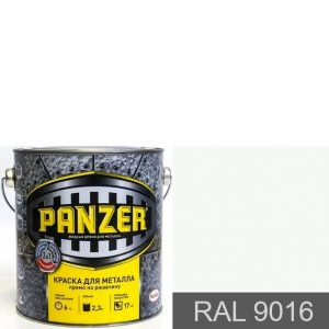 "Фото 13 - Краска Панцерь "" RAL 9016 Белый транспортный"" гладкая для металла 3 в 1  (0,75 л) - ""Panzer""."