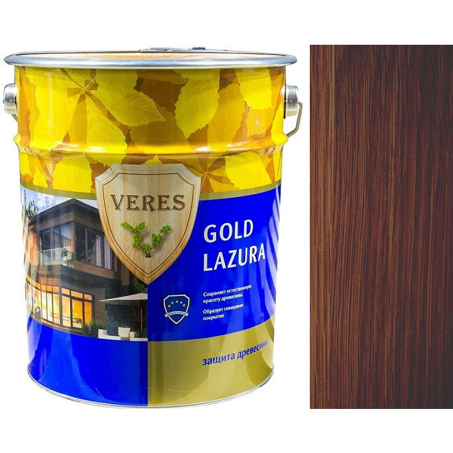 """Фото 20 - Пропитка Верес """"Голд Лазура"""" №3 Тик, для древесины [Глянцевая]-[10л] """"Veres""""."""