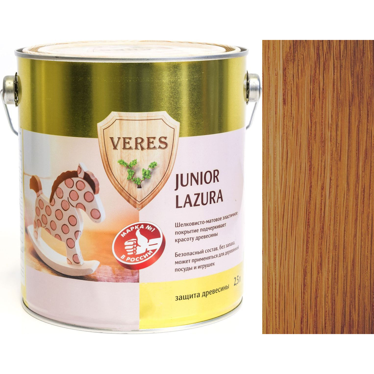"""Фото 15 - Пропитка Верес """"Джуниор Лазура"""" №19 Дуб, для древесины [Шелковисто-матовая]-[уп. 6 шт по 0,25 л] """"Veres""""."""