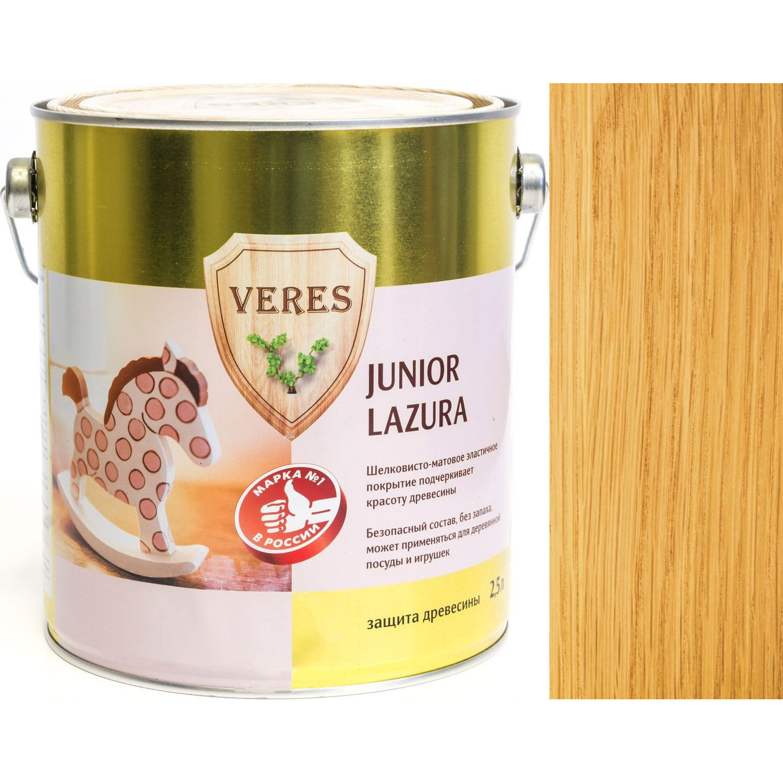 """Фото 17 - Пропитка Верес """"Джуниор Лазура"""" №2 Сосна, для древесины [Шелковисто-матовая]-[уп. 4 шт по 2,5 л] """"Veres""""."""