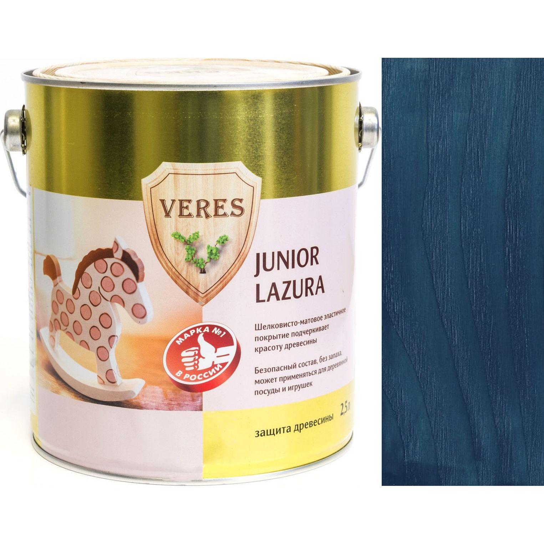 """Фото 2 - Пропитка Верес """"Джуниор Лазура"""" №21 Темно-Синяя, для древесины [Шелковисто-матовая]-[уп. 4 шт по 2,5 л] """"Veres""""."""