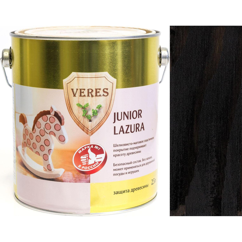 """Фото 24 - Пропитка Верес """"Джуниор Лазура"""" №22 Черная, для древесины [Шелковисто-матовая]-[уп. 6 шт по 0,25 л] """"Veres""""."""