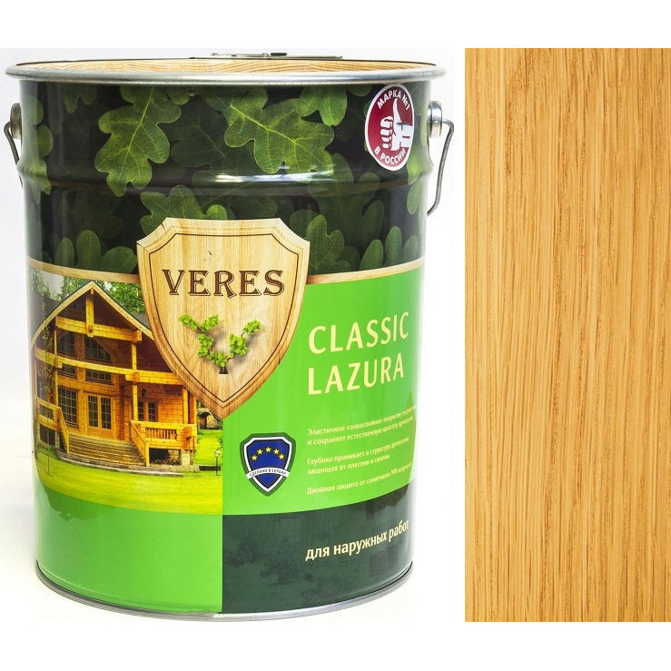 """Фото 7 - Пропитка Верес """"Классик Лазура"""" №2 Сосна, для древесины [Полуматовая]-[9 л] """"Veres""""."""