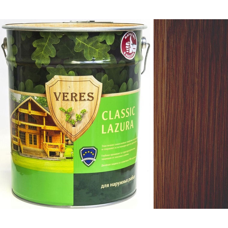 """Фото 14 - Пропитка Верес """"Классик Лазура"""" №3 Тик, для древесины [Полуматовая]-[уп. 4 шт по 2,7 л] """"Veres""""."""