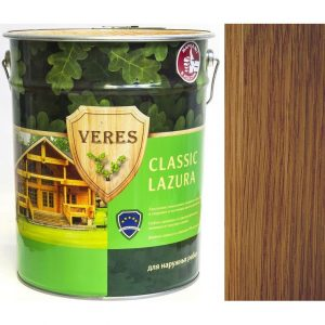 """Фото 24 - Пропитка Верес """"Классик Лазура"""" №8 Дуб темный, для древесины [Полуматовая]-[уп. 6 шт по 0,9 л ] """"Veres""""."""