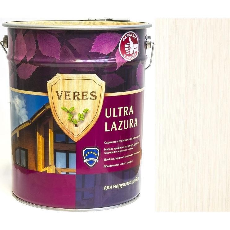 """Фото 5 - Пропитка Верес """"Ультра Лазура"""" №12 Белая, для древесины [Шелковисто-глянцевая]-[20 л] """"Veres""""."""