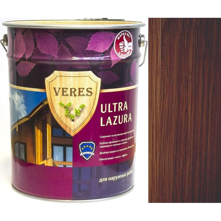"""Фото 24 - Пропитка Верес """"Ультра Лазура"""" №3 Тик, для древесины [Шелковисто-глянцевая]-[уп. 4 шт по 2,7 л] """"Veres""""."""