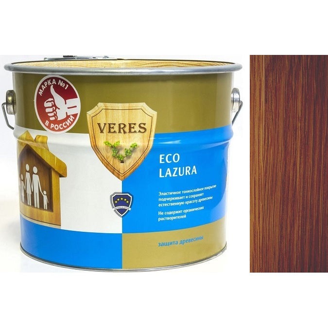 """Фото 4 - Пропитка Верес """"Эко Лазура"""" №10 Каштан, для древесины [Шелковисто-матовая]-[6 л] """"Veres""""."""