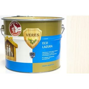 """Фото 9 - Пропитка Верес """"Эко Лазура"""" №12 Белая, для древесины [Шелковисто-матовая]-[уп. 6 шт по 0,75 л ] """"Veres""""."""