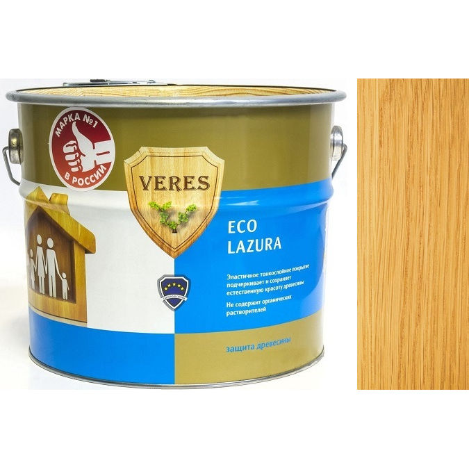 """Фото 16 - Пропитка Верес """"Эко Лазура"""" №2 Сосна, для древесины [Шелковисто-матовая]-[6 л] """"Veres""""."""