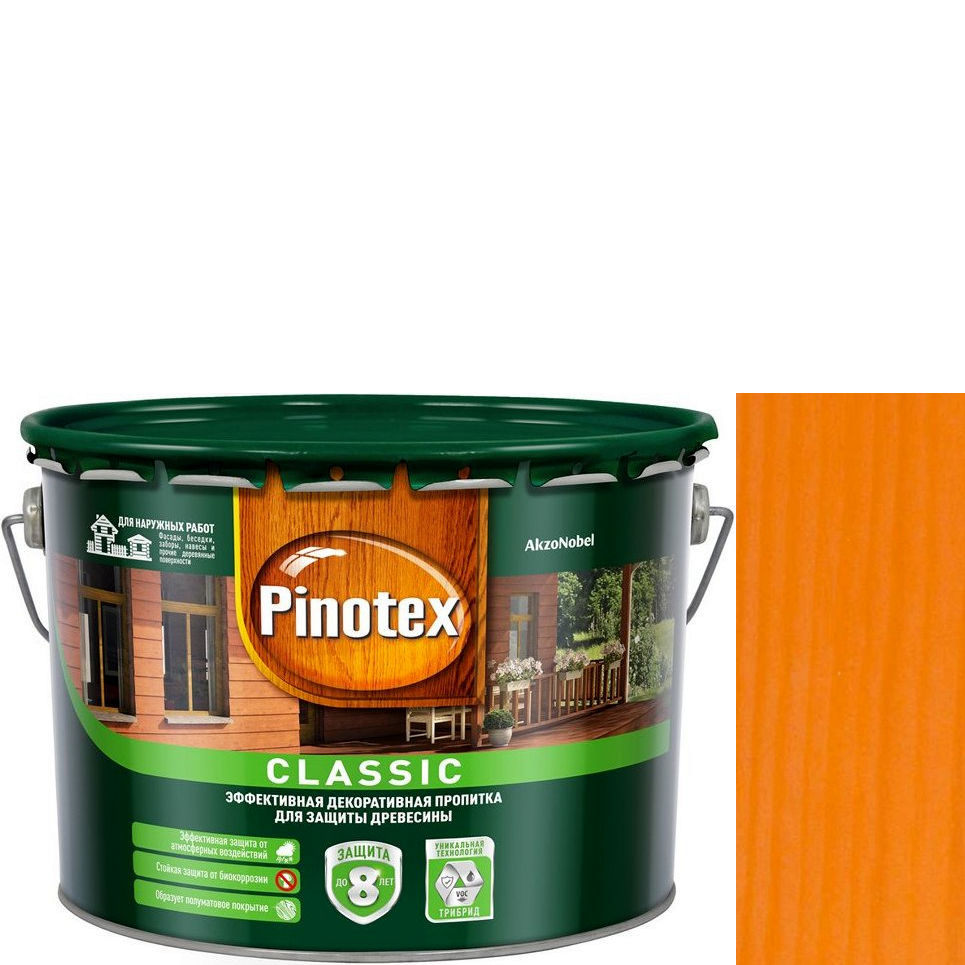 """Фото 15 - Антисептик """"Pinotex Classic"""" Орегон, полуматовая пропитка для защиты древесины  (2,7 л) """"Пинотекс""""."""