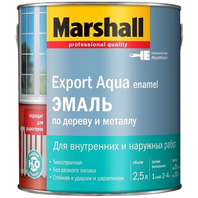 """Фото 1 - Эмаль """"Marshall"""" Эксперт Аква (Export Aqua) Белая, акриловая глянцевая универсальная (2,5 л) """"Маршал""""."""