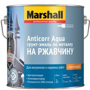 """Фото 2 - Грунт-Эмаль """"Marshall"""" Антикор Аква (Anticorr Aqua) акриловая полуглянцевая по металлу 3в1 (2л) """"Маршал""""  - база BW."""