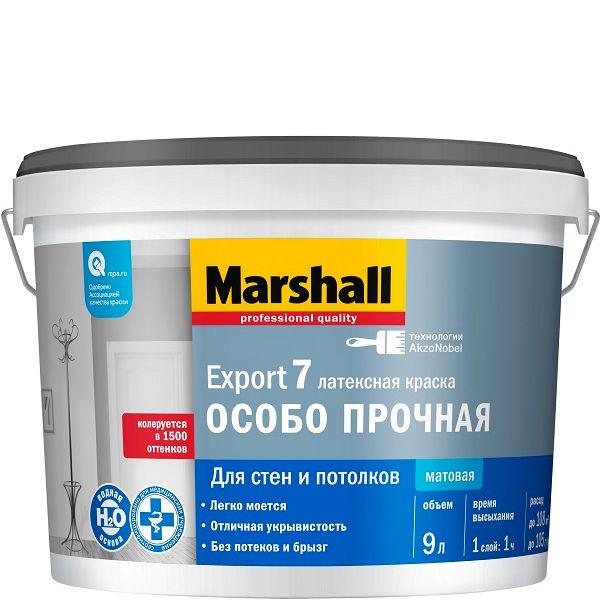 """Фото 17 - Краска """"Marshall"""" Потолок матовая водно дисперсионная акриловая краска для потолков  - (9 л) """"Маршал""""."""