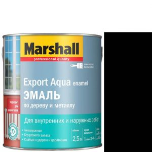 """Фото 6 - Эмаль """"Marshall"""" Эксперт Аква (Export Aqua) Черная, акриловая полуматовая универсальная (2,5 л) """"Маршал""""."""