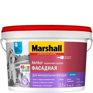 """Фото 9 - Краска """"Marshall"""" Антикор Фасадная (Akrikor) акриловая матовая для наружных работ  - база BW ( 9 л) """"Маршал""""."""
