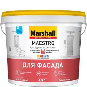 """Фото 15 - Краска """"Marshall"""" Маэстро Фасадная (Maestro) акриловая глубокоматовая для наружных работ  - база BW ( 2,5 л) """"Маршал""""."""
