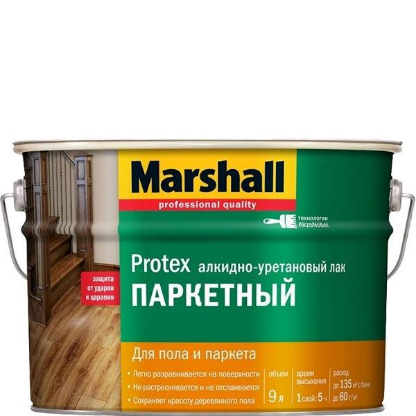 """Фото 1 - Лак """"Marshall"""" Протекс Паркетный (Protex)  бесцветный алкидно-уретановый для пола и паркета  - (9 л) """"Маршал"""" глянцевый."""