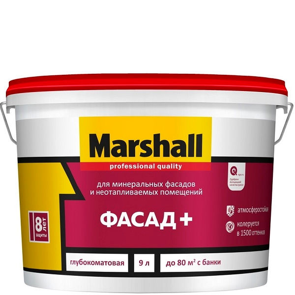 "Фото 18 - Краска ""Marshall"" Фасад+, глубокоматовая для наружных и внутренних работ  - база BW ( 9 л) ""Маршал""."