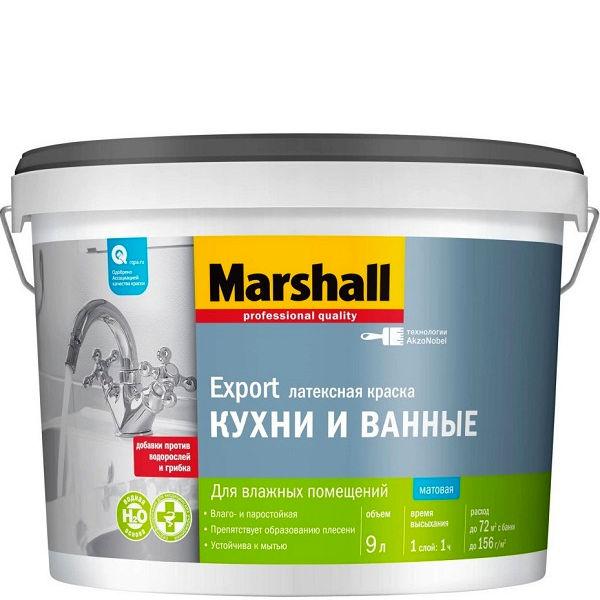 """Фото 8 - Краска """"Marshall"""" Кухни и Ванные, латексная матовая для влажных помещений  - база BW (4,5 л) """"Маршал""""."""