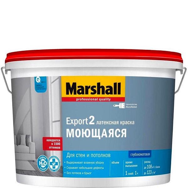 "Фото 6 - Краска ""Marshall"" Експорт 2 (Export 2) латексная глубокоматовая для стен и потолков  - база BW ( 9 л) ""Маршал""."