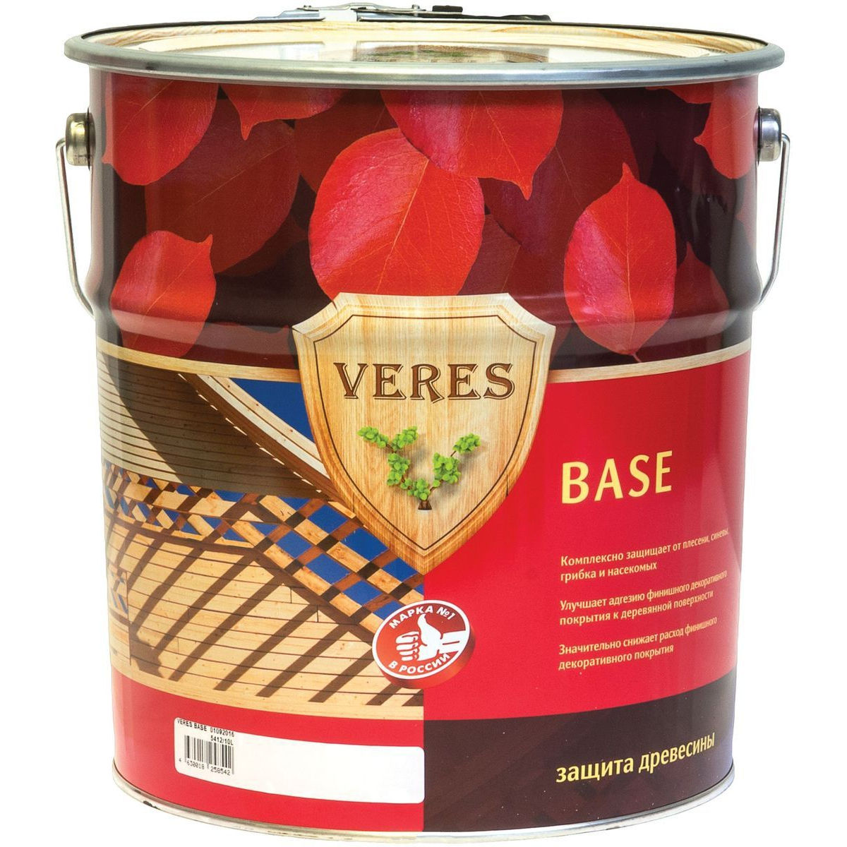 """Фото 3 - Грунтовочный состав Верес """"База"""" биозащитный для древесины [Бесцветный]-[уп. 4 шт по 2,7 л] """"Veres""""."""