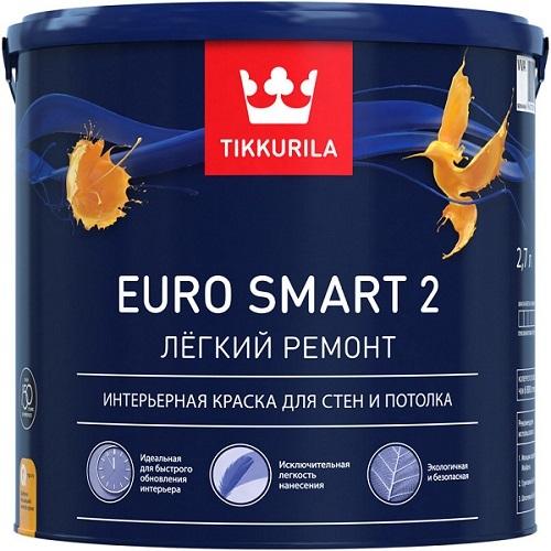 "Фото 9 - Краска Тиккурила ""Евро Смарт 2"" (Euro Smart 2) на основе ПВА с добавлением акрила матовая (База А) (2.7л) ""Tikkurila""."