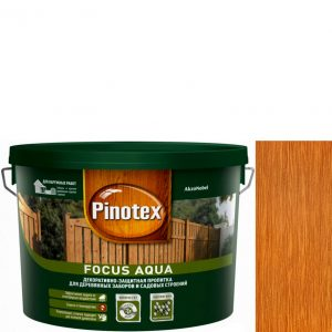 """Фото 3 - Пропитка """"Pinotex Focus Aqua"""" Золотая осень, полуматовая для защиты древесины  (5 л) """"Пинотекс""""."""
