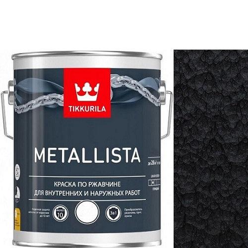 """Фото 1 - Краска Тиккурила """"Металлиста"""" (Metallista) Черная молотковая, по ржавчине для металла (Черный) (уп. 24 шт по 0.4л ) """"Tikkurila""""."""