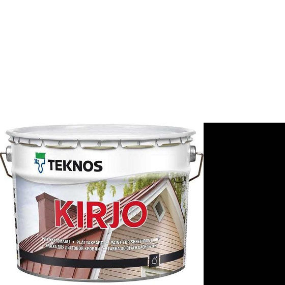 """Фото 1 - Краска Текнос """"Кирьё"""" T2515 (Kirjo) алкидная полуматовая для листовой кровли (2.7 л) """"Teknos""""."""