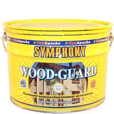 """Фото 1 - Антисептик Симфония """"Вудгард"""" (Wood Guard) кроющий матовый для деревянных поверхностей (база ВC)(9 л) """"Symphony""""."""