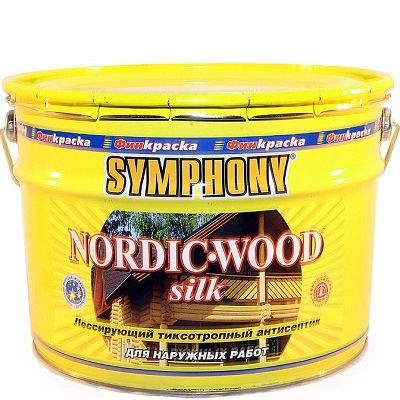 "Фото 3 - Антисептик Симфония ""Нордик Вуд Силк"" (Nordic Wood Silk) лессирующий шелковисто-матовый для дерева (9 л) ""Symphony""."