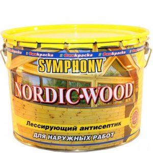 """Фото 4 - Антисептик Симфония """"Нордик Вуд"""" (Nordic Wood) лессирующий матовый для деревянных поверхностей (9 л) """"Symphony""""."""