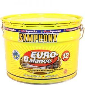 """Фото 3 - Краска Симфония """"Евро Баланс 12"""" (Euro Balance 12) акрилатная полуматовая влагостойкая интерьерная (база А)( 9 л) """"Symphony""""."""