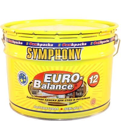 """Фото 12 - Краска Симфония """"Евро Баланс 12"""" (Euro Balance 12) акрилатная полуматовая влагостойкая интерьерная (база А)( 9 л) """"Symphony""""."""