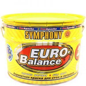 """Фото 4 - Краска Симфония """"Евро Баланс 2"""" (Euro Balance 2) акрилатная матовая для стен и потолков (металлическая банка) (9 л) супербелая)."""