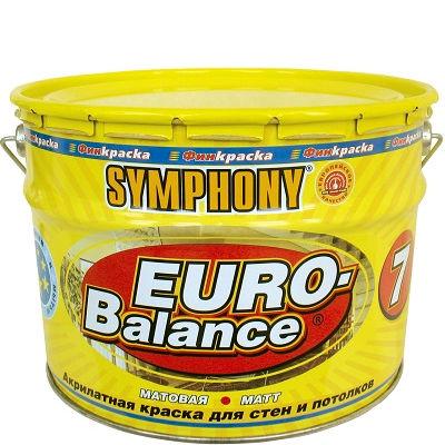 """Фото 15 - Краска Симфония """"Евро Баланс 7"""" (Euro Balance 7) акрилатная матовая для стен и потолков (металлическая банка, база А)(9 л) """"Symphony""""."""