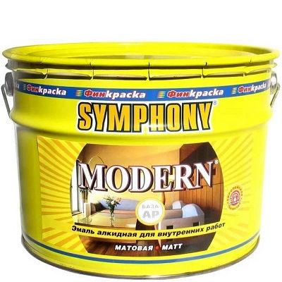 """Фото 1 - Краска Симфония """"Модерн"""" (Modern) алкидная матовая универсальная (база АP)( 9 л) """"Symphony""""."""