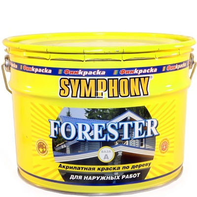 """Фото 1 - Краска Симфония """"Форестер"""" (Forester) акрилатная полуматовая для наружных деревянных поверхностей (база А)( 9 л) """"Symphony""""."""