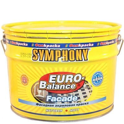 "Фото 24 - Краска Симфония фасадная ""Евро Баланс Фасад Аква"" (Euro Balance Faсade Aqua) акриловая матовая (база LAP)(9 л) ""Symphony""."