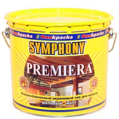 """Фото 1 - Лак Симфония """"Премьера"""" (Premiera) акриловый экологически чистый для мебели  (9 л) ( шелковисто-матовый, бесцветный) """"Symphony""""."""