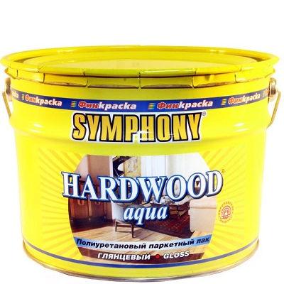 """Фото 1 - Лак паркетный Симфония """"Хардвуд Аква"""" (Hardwood Aqua) полиуретановый для деревянных поверхностей (глянцевый)(9 л) """"Symphony""""."""