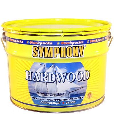 """Фото 1 - Лак яхтный Симфония """"Хардвуд"""" (Hardwood) полиуретановый для деревянных поверхностей с УФ-фильтром (глянцевый)(9 л) """"Symphony""""."""